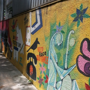 Colourful graffiti walls at Max Mueller Bhavan, Bangalore